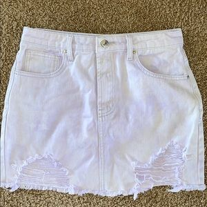 Distressed Forever 21 Purple mini denim skirt